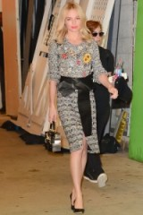 Kate Bosworth looks stunning in Alexander McQueen ensemble, of mixed knits and wide leather belt, New York, 9 September 2015. Celebrity fashion | star style | what celebrities wear | designer clothing