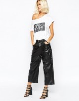 Cheap Monday wide leg crop faux leather trousers in black. Womens cropped pants | leather look fashion