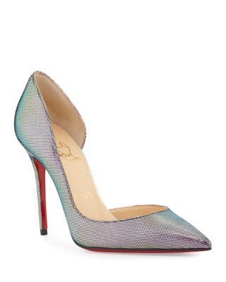 Christian Louboutin Iriza Iridescent Red sole Pump, Digitale/Silver – as worn by Demi Lovato out in London, 10 September 2015. Celebrity fashion | designer shoes | star style | what celebrities wear - flipped