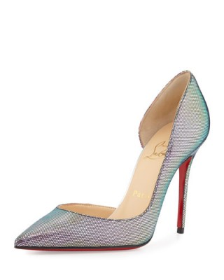 Christian Louboutin Iriza Iridescent Red sole Pump, Digitale/Silver – as worn by Demi Lovato out in London, 10 September 2015. Celebrity fashion | designer shoes | star style | what celebrities wear