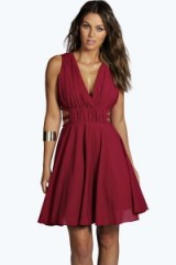 boohoo Boutique Cindy chiffon cut out prom dress in plum from boohoo.com. Party dresses / going out / evening fashion / fit and flare style
