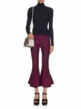 MARY KATRANTZOU Clockwork paisley-jacquard kick-flare trousers in black & pink. designer fashion ~ frill hem pants ~ richly printed fabrics ~ womens luxury clothing ~ cropped bottoms ~ flares ~ flared style