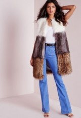 Love this gorgeous luxe style gilet…Missguided colour block longline gilet. Faux fur gilets | long sleeveless jackets | autumn-winter outerwear | warm fashion