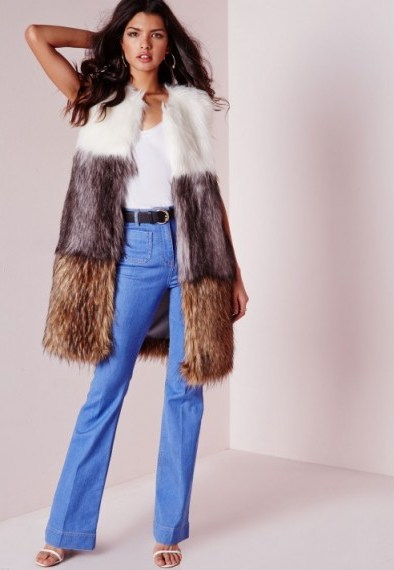 Love this gorgeous luxe style gilet…Missguided colour block longline gilet. Faux fur gilets   long sleeveless jackets   autumn-winter outerwear   warm fashion - flipped