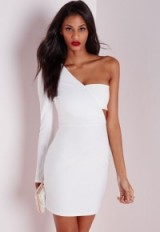 Missguided white crepe one shoulder bodycon dress. Going out ~ party fashion ~ clubbing outfits ~ night club glamour ~ evening celebration