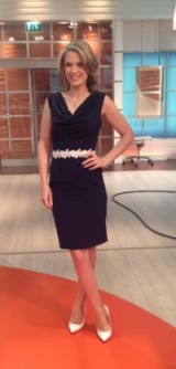Charlotte Hawkins wearing a Paper Dolls UK dress with belt and Office Shoes #gmb #lookingfresh