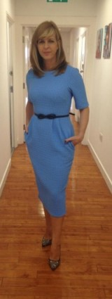 Good looking Kate Garraway wearing an ASOS pale blue dress and Zara shoes