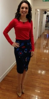 Weather presenter Laura Tobin wearing a red UNIQLO top, Next.co.uk skirt and Dune London shoes