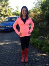Laura Tobin in a F and F clothing top and a cute New Look pink jacket @sweet