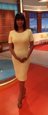 GMB presenter Ranvir Singh looking great in a Therapy House Of Fraser dress and Zara shoes ?