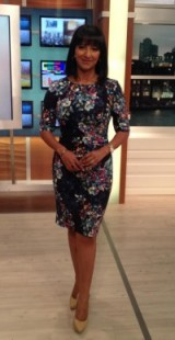 Ranvir Singh looking hot wearing a LK Bennett London dress and Nine West nude shoes #amazing