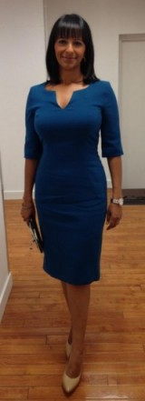 Ranvir Singh wearing a Hobbs VIP blue dress and Nine West shoes