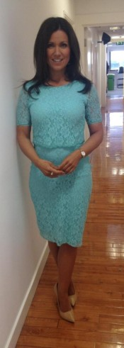 Susanna Reid wearing mandco lace dress and Dune London shoes #lovelyinlace