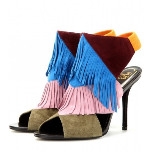 ROGER VIVIER Suede fringed multicoloured sandals. Designer shoes – peep toe sandals – luxury footwear – luxe accessories - flipped