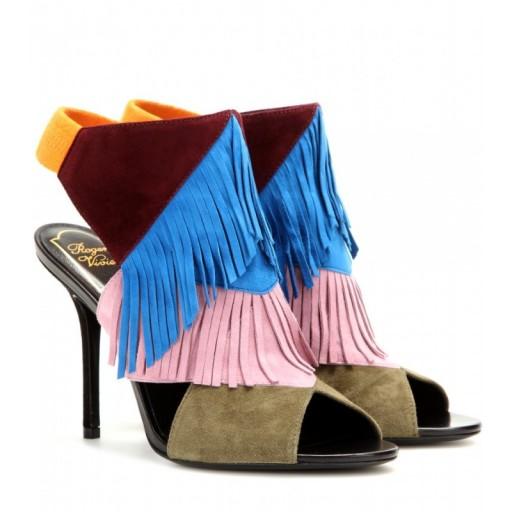 ROGER VIVIER Suede fringed multicoloured sandals. Designer shoes – peep toe sandals – luxury footwear – luxe accessories