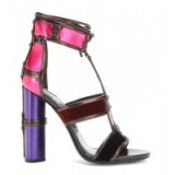 TOM FORD Patchwork metallic leather and velvet sandals. Designer footwear – luxe style shoes – luxury sandals – ankle straps