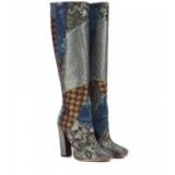 ETRO Metallic jacquard knee-high boots – designer footwear – patchwork fashion – luxe style