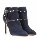 Designer studded boots – VALENTINO Rockstud suede ankle boots in blue. Womens luxury footwear – studs – stiletto heels