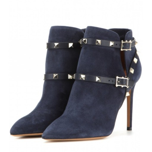 Designer studded boots – VALENTINO Rockstud suede ankle boots in blue. Womens luxury footwear – studs – stiletto heels - flipped