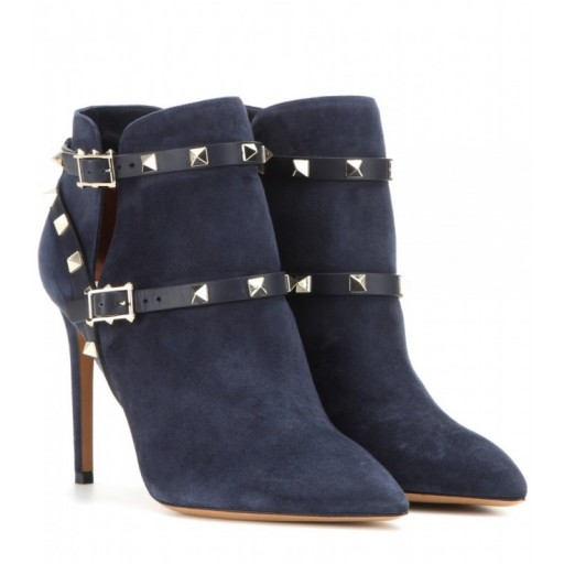 Designer studded boots – VALENTINO Rockstud suede ankle boots in blue. Womens luxury footwear – studs – stiletto heels