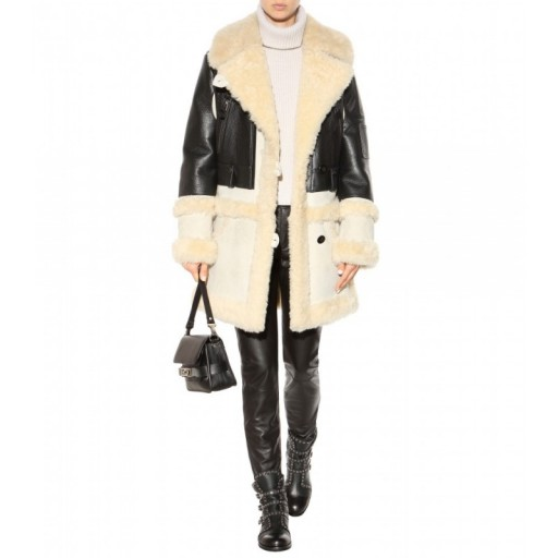 COACH Shearling-trimmed leather coat. Designer coats – winte