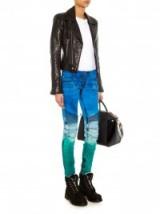 BALMAIN Dégradé mid-rise skinny biker jeans. Designer fashion | multicoloured denim | green & blue