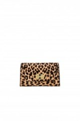 Diane von Furstenberg Gallery Bellini Clutch in Leopard. Animal print evening bags ~ occasion accessories ~ party glamour ~ going out handbags