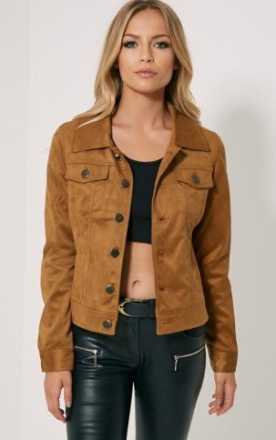 Pretty Little Thing – Dorah camel faux suede jacket. Autumn jackets | casual fashion | womens outerwear - flipped