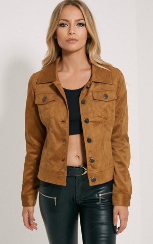 Pretty Little Thing – Dorah camel faux suede jacket. Autumn jackets | casual fashion | womens outerwear