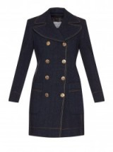 SONIA RYKIEL Double-breasted denim coat. Designer coats | dark blue | womens outerwear | luxury clothing