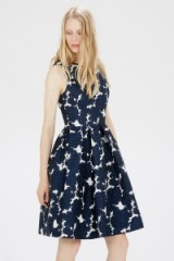 Warehouse floral jacquard midi dress blue. Fit & flare style / sleeveless party dresses / occasion wear / evening fashion  #