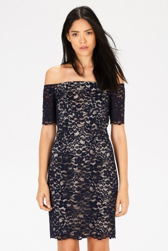 Warehouse lace bardot pencil dress blue. Off the shoulder style / fitted party dresses / evening wear / going out fashion / occasionwear  #