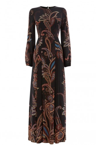 Warehouse silk paisley maxi dress. 70s style maxi dresses / autumn-winter prints & colours / womens fashion / cut out back / front slits / long occasion dresses / going out