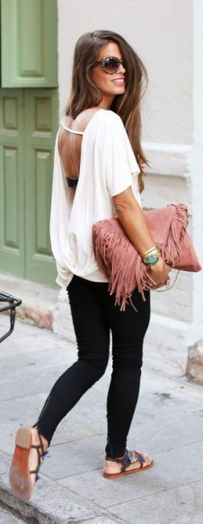 Summer street style…white open black top, black skinny jeans, flat embellished sandals and a pink fringed shoulder bag. Casual chic | fashion inspiration | weekend outfits | outfit ideas