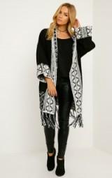 Pretty Little Thing Eilysh black heavy knit cardigan. Womens knitwear | long cardigans | Aztec design | chunky knits | autumn / winter fashion
