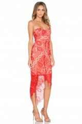 Elle Zeitoune red luxe Macey dress. Lace party dresses ~ strapless occasion wear ~ high-low hem ~ evening fashion