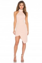 Elliatt – Banksia Dress in blush. High neck party dresses ~ asymmetric hemline ~ eveningwear ~ occasion wear ~ going out glamour