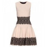 Luxe fit & flare dress ~ ALEXANDER MCQUEEN Embroidered stretch dress in nude & black. luxury fashion ~ designer clothing