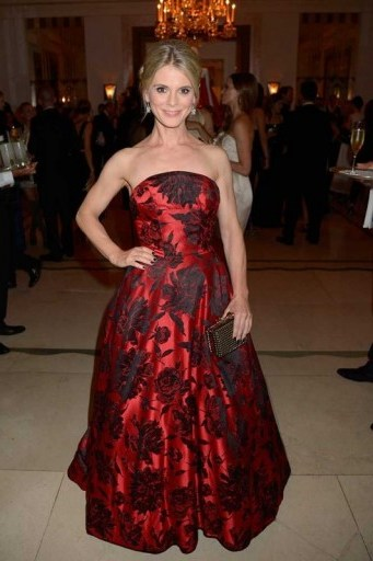 Actress Emilia Fox in a red floral strapless ball gown, attends the William Vintage Dinner during London Fashion Week, September 2015. Celebrity style / fashion events / designer gowns / LFW S/S 2016  # - flipped