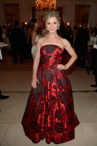 Actress Emilia Fox in a red floral strapless ball gown, attends the William Vintage Dinner during London Fashion Week, September 2015. Celebrity style / fashion events / designer gowns / LFW S/S 2016  #