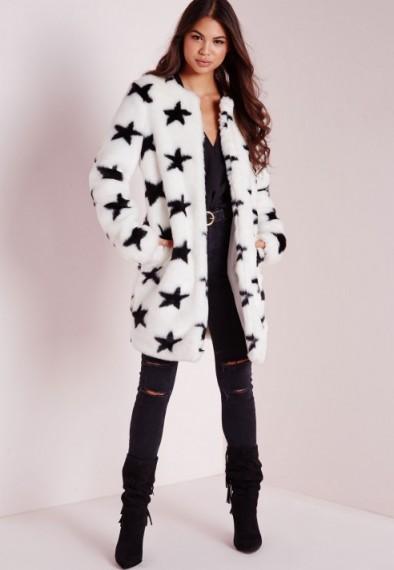 Missguided white faux fur star print coat. Womens coats