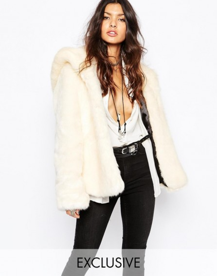 Faux london fluffy faux fur hooded coat in cream winter for Mariah carey jewelry line claire s
