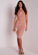 Missguided pink faux suede cut out midi dress ~ going out dresses ~ party glamour