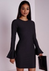 Black flared sleeve bodycon dress from Missguided ~ affordable luxe ~ luxury looks ~ going out dresses ~ evening fashion ~ LBD