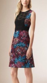 Burberry Prorsum floral print Italian lace shift dress in elderberry ~ designer dresses ~ luxury fashion