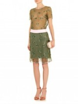 Mary Katrantzou floral embellished tulle skirt in olive green ~ occasion skirts ~ designer clothing ~ womens luxury clothing