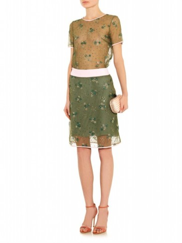Mary katrantzou floral embellished tulle skirt in olive for Luxury clothing