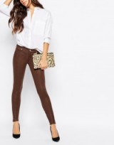 7 For All Mankind leather look skinny trousers in brown. Womens faux leather pants | casual fashion