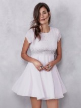 Party fashion | Glitter Rock lilac Babydoll dress. Going out dresses – occasion wear – evening glamour – skater – fit & flare – raw edges