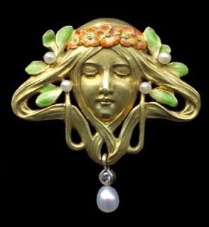 FRIEDRICH ZERRENNER Art Nouveau Brooch – antique jewellery | gold & enamel brooches - flipped